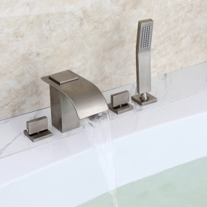 Milly Modern Brushed Nickel Widespread Waterfall Roman Tub Filler Faucet with Handheld Shower Solid Brass