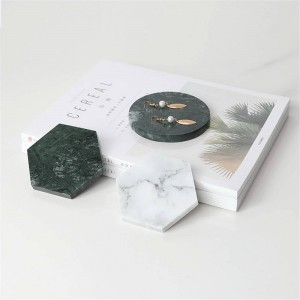 Minimalist Marble Pattern Office Table Storage Plate Geometry Chic Scandinavian Nordic Ceramic Desk Storage Tray Organizer Decor