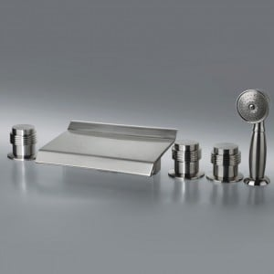 Moda Waterfall 5 Hole Deck Mounted Roman Tub Faucet & Hand Shower Brushed Nickel