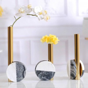 Model Room Decoration Light Luxury Creative Desktop Metal Marble Flower Modern Minimalist Home Model Room Decoration