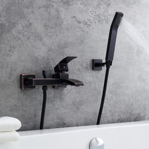 Modern 1-Handle Antique Black Wall-Mount Tub Filler Faucet with Flexible Hand Shower Solid Brass