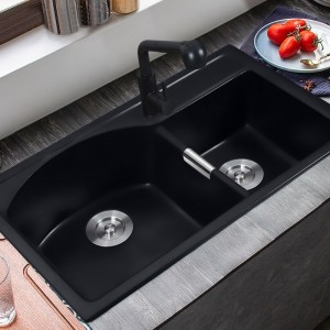 "Modern 32"" Granite Kitchen Sink Drop-In Sink Double Bowl Kitchen Sink Quartz Kitchen Sink Matte Black"