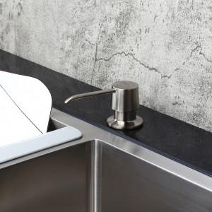 Modern Brushed Nickel Deck Mount Sink Soap Dispenser with Solid Brass Self-Priming Pump 12 OZ Bottle