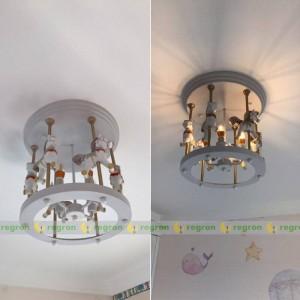 Modern Children Light Fixtures Lighting bedroom Lamp Boys Girls Room ceiling light Rotating Trojan Horse E14 led Ceiling Lamp