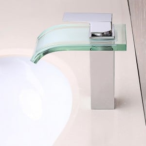 Modern Co-crystal Glass Spout 1-Hole Waterfall Bathroom Sink Faucet Solid Brass in Polished Chrome