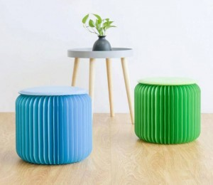 Modern Creative Footstools Round Ottoman Pouffe Foldable Portable Space Saving for Living Room, Bedroom, Office Dorm Footstools