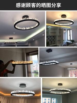 Modern Crystal pendant lights for Living room Bar Led ring round kitchen LED strip Lustre Cristal lighting dining lamp