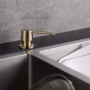 Modern Deck Mount Sink Soap Dispenser Brushed Gold with Solid Brass Self-Priming Pump 12 OZ Bottle