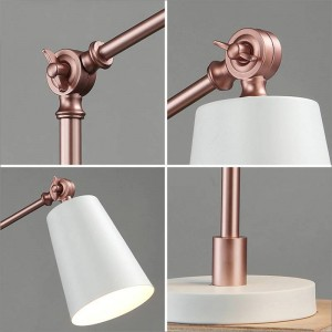 Modern Desk Lamps black white gold metal body For Bedroom Metal Reading Lamp De Mesa Modern E27 Book Lighting Fixtures