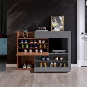 Modern Expanding Shoe Storage Cabinet Natural&Gray / Natural&White Shoe Organizer Space-Saving Shoe Rack
