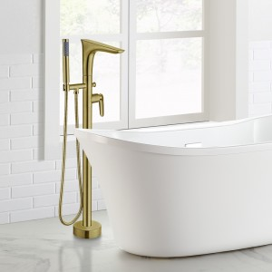 Modern Freestanding Tub Faucet Floor Mounted Tub Filler Swivel Spout with Handshower Brushed Gold Solid Brass