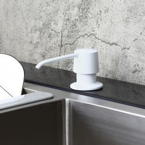 Modern Glossy White Deck Mount Sink Soap Dispenser with Solid Brass Self-Priming Pump 12 OZ Bottle