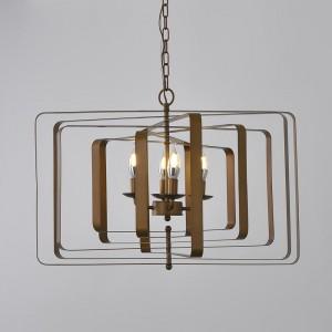 Modern Gold / Bronze Geometric Rectangular Candle Chandelier 4-Light Metal Linear Island Light