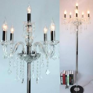 Modern Led candle floor lamp for living room wedding Crystal Candlestick chrome Lambader Party floor light 110-240V E12/E14 LED