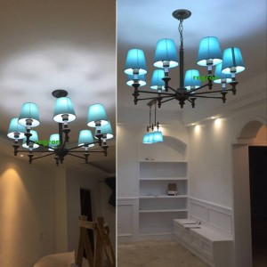 Modern LED Chandelier Lights Lamp Nordic Dining Room Lamp Children Room Iron Art Blue Style Mediterranean chandeliers E27