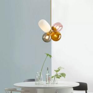 Modern Lovely 4-Light Chandelier Colorful Glass Balloon Ceiling Light for Girls Room/Nursery
