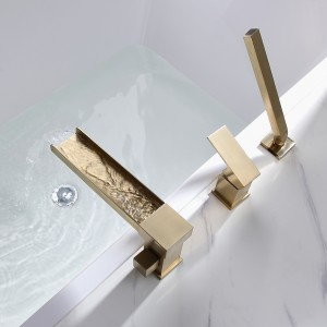 Modern Luxury Deck-Mount Waterfall Roman Bathtub Filler Faucet with Handshower in Brushed Gold