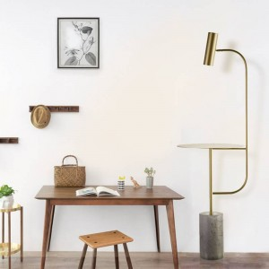 Modern Marble Floor Lamp with table adjustable angle black gold color Foot Switch E27 led spotlight natural white 4000K warm
