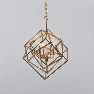 Modern Mid-Century Square Geometric Candle Chandelier 4-Light / 6-Light Antique Gold Ceiling Light
