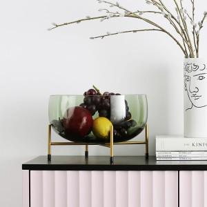 Modern Minimalist Hand Blown Glass Fruit Bowl with Metal Base Frame Decorative Large Round Bowl