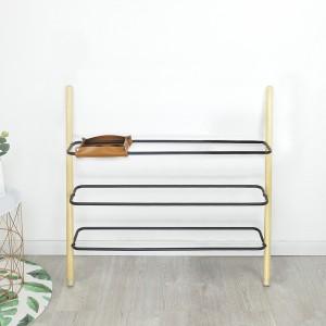 Modern Minimalist Ladder Shoe Shelf Wall Leaning Shoe Rack 3/4 Tiers Solid Wood & Black Metal