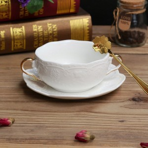 Modern Minimalist Round Embossed Bowl White Ceramic Gold Handles Soup Bowl with Saucer & Spoon Set of 2