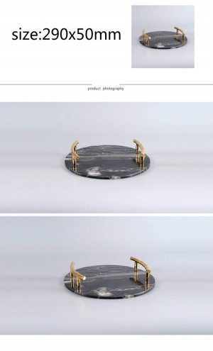 Modern Natural Marble Round Tray Villa Hotel Model Room Black Marble Decorative Tray Decoration