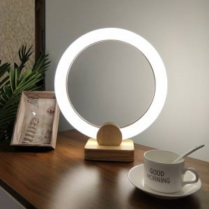 Modern Nordic Simple Bedroom Bedside Desk lamps Creative Wood art Acrylic ring Decoration Table lights LED Reading lamps