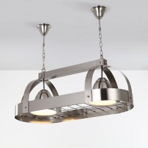 Modern Oval 2-Light Kitchen Island Light Brushed Nickel Ceiling Hanging Pot Rack Down Light
