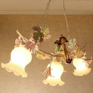 Modern Pastoral Style pendant light Iron Lamp Creative Children's Cartoon Korean Romantic Bedroom Restaurant pendant lamp led