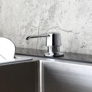 Modern Polished Chrome Deck Mount Sink Soap Dispenser with Solid Brass Self-Priming Pump 12 OZ Bottle