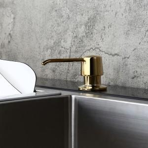 Modern Polished Gold Deck Mount Sink Soap Dispenser with Solid Brass Self-Priming Pump 12 OZ Bottle