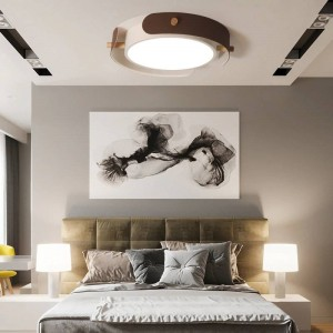 Modern Simple Round LED Ceiling Hanging Lamp for Living Room Nordic Wood Hanglamp Bedroom Home Study Deco Ceiling Light Fixtures