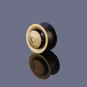 Modern Solid Brass Round Tip Toe Tub Drain without Overflow in Antique Brass
