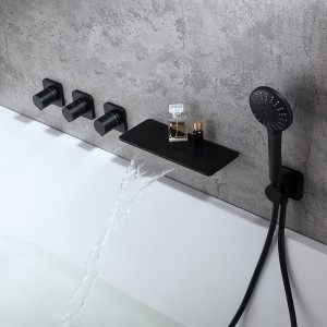 Modern Stylish Wall-Mount Waterfall Bathtub Faucet with Hand Shower in Matte Black Solid Brass