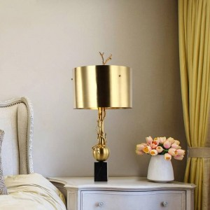 Modern Table Lamps copper marble Reading Study Light Bedroom Bedside Lights Lampshade Home Lighting nordic lamp table E27 bulb