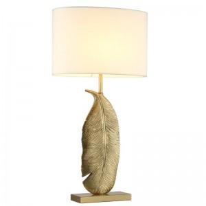 Modern Table Lamps dold leaves art decoration Reading Study Light Bedroom Bedside Lights Lampshade Home Lighting Led nordic lamp