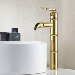 Modern Tall style bamboo design Deck mounted single handle Gold finish bathroom basin faucets G1042