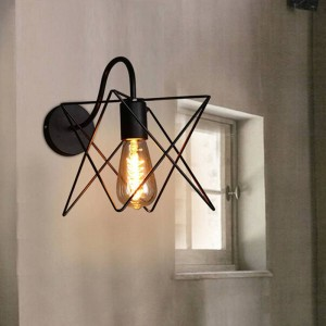 Modern Vintage Loft iron Wall lamps black metal triangle cage lampshade country style wall Sconce aisle corridor light fixture