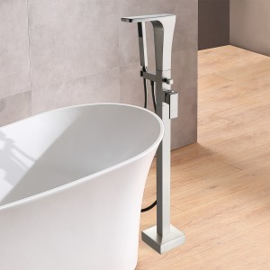 Modern Waterfall Floor Mounted Single Handle Bathroom Tub Filler Faucet with Hand Shower Solid Brass in Brushed Nickel