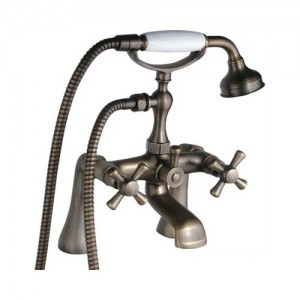 Montag Vintage Deck Mounted 2-Handle Antique Brass Tub Faucet with Hand Shower Solid Brass