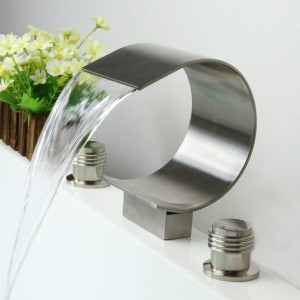 Mooni Contemporary 3-Hole Waterfall Spout Roman Bathtub Filler Tub Faucet in Brushed Nickel Solid Brass