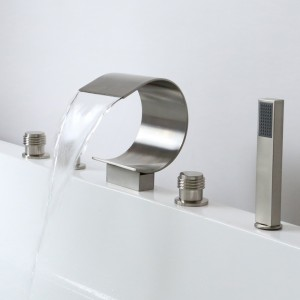Mooni Modern Brushed Nickel Waterfall Roman Tub Filler Deck Mount with Handshower Solid Brass