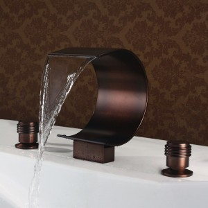 Mooni Modern Waterfall 2-Handle Roman Tub Faucet Oil Rubbed Bronze Solid Brass