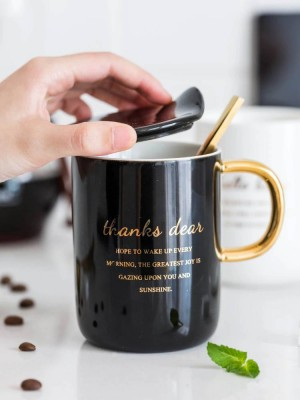 Mug European Gold Black And White Contrast Office Cup With Cover Couple Cup Spoon Cup Set
