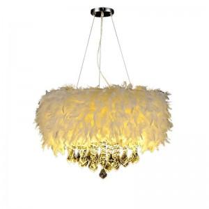 multi-color feather lamp pendant lights for children's room hanging light crystal pendant lamp bedroom E14 led lighting fixture