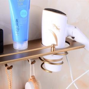 Multi-function Bathroom Hair Dryer Holder Wall Mounted Rack Antique Copper Shelf Storage Organizer Hairdryer Holder 9049K
