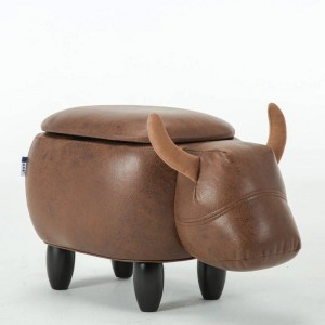Multi-Functional Upholstered Ride-On Animal Ottoman Footrest Stool With Storage Animal-Like Features Creative for Kids and Adult