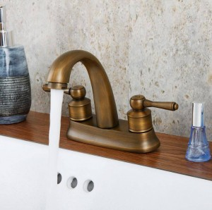 Basin Faucets Brass Antique/Black Deck Mounted Kitchen Bathroom Sink Faucets Dual Handle Hot and Cold Mixer Tap XT978