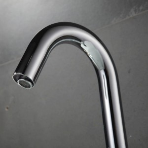 Contemporary Basin Faucet Chrome Faucet Ceramic Plate Spool Water Saving Battery Power Automatic Infrared Sensor Buque
